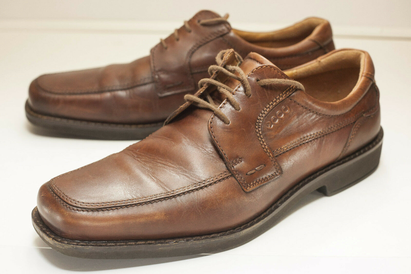 ECCO Size 13 to 13.5 Brown Men's Seattle Apron-Toe Derby shoes Extra Width
