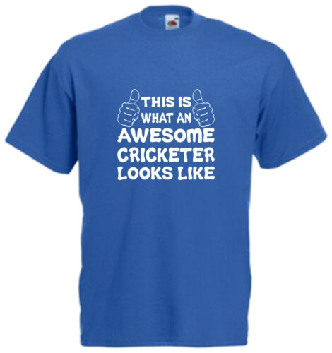 Awesome Cricketer T Shirt Mens Boys Gift Xmas Day Present Cool Birthday Tee Fun