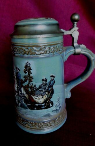 GERZIT STEIN AMERICAN REVOLUTIONARY EMBOSSED SNOW SCENE PEWTER LID GERMANY