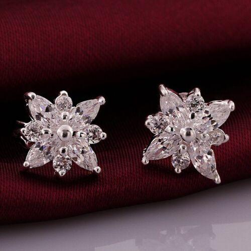 Fashion 925 Argent Plaqué Bijoux Cristal Flocon de neige Boucles d/'oreille femme