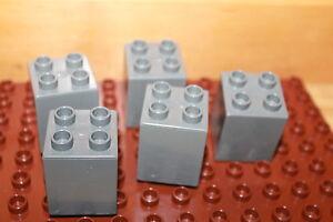 hoch 2 x 2 x 2-4er Noppen 2 Bausteine Lego Duplo hell-grau Steine
