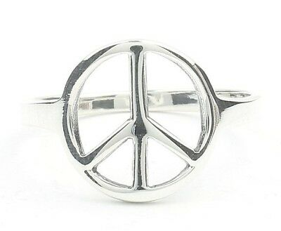 USA Seller Peace Sign Ring Sterling Silver 925 Size 6