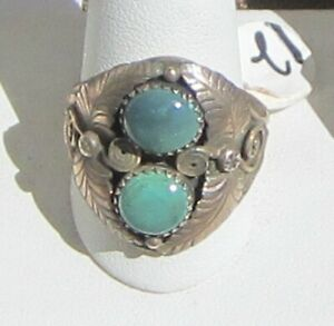 Signed-Size-12-Ring-Two-Turquoise-Free-forms-Set-in-Sterling