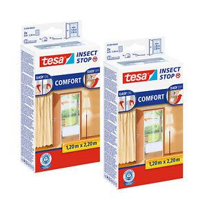 2x tesa Fliegengitter Insektenschutz 1,2x2,2m für Türen weiß Klettband Comfort