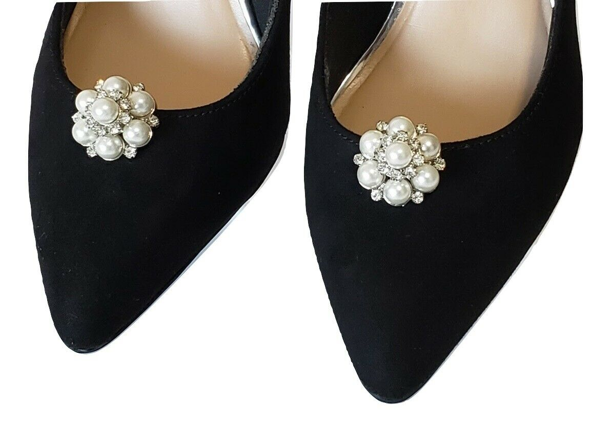 Bridal Wedding Prom Pearl Cluster Design Shoe Clips Ladies Dress Formal Wear