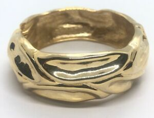 Vintage-Bracelet-Bangle-Cuff-Hinged-Gold-Tone-6-5