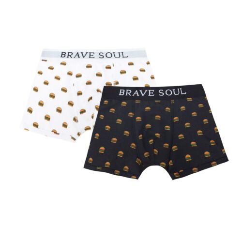 Brave Soul Mens Burger Print Hipster Boxers 134 Pack Of 2