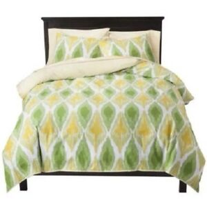 Threshold Yellow Green Ikat Full Queen Duvet Cover Shams