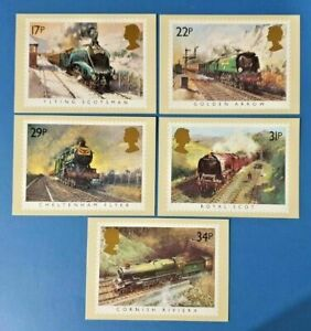 Set-of-5-PHQ-Stamp-Postcards-Set-No-81-Famous-Steam-Trains-1985-IP6