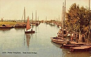 POTTER-HEIGHAM-NORFOLK-ENGLAND-VIEW-FROM-BRIDGE-POSTCARD-TO-WHITE-STAR-LINE-PSGR