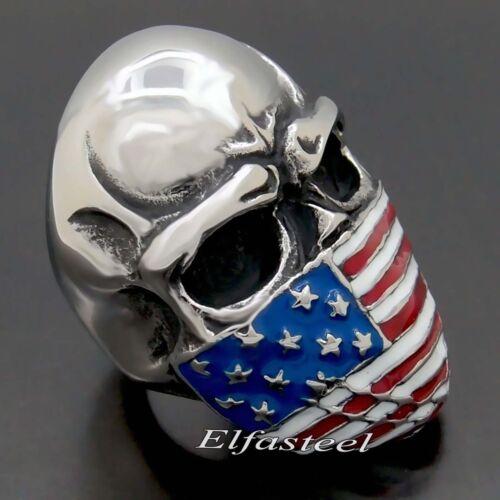 Homme grand drapeau américain Masque Crâne 316 L acier inoxydable biker ring