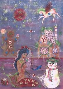 CHRISTMAS MERMAID NAUTICAL GINGERBREAD HOUSE COTTAGE DOLPHIN OCEAN PRINT 1/10