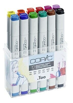 Copic Classic Marker 12 Summer Colours Set Refillable With Copic Various Inks