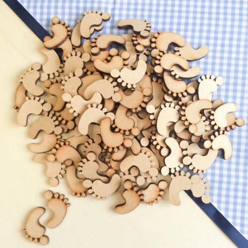 Wooden MDF Baby Feet Shape 3mm MDF Craft Tags Embellishments Family Decoration