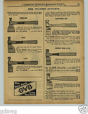 1929 PAPER AD USA Blued Steel Axe Axes Hibbard Valley Forge Michigan Pattern