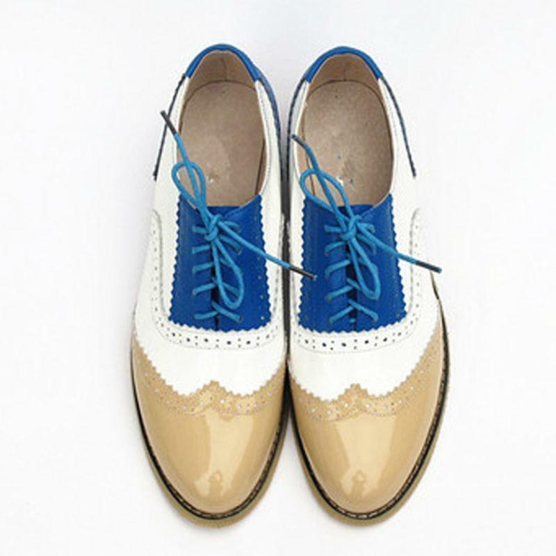 Retro Ladies Oxfords Lace up Shoes Oxford Flats Brogue Shoes preppy girl color