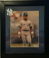 Rickey Henderson  Signed  Yankees 13x15 Custom  Framed Photo Display PSA/DNA COA