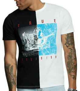 True-Religion-Men-039-s-Buddha-Water-Split-Tee-T-Shirt-in-Black-White