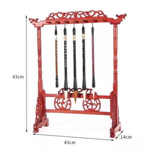 Rosewood Calligraphy Brush Holder Sumi Brush Hanger Chinese Brush Stand Rack