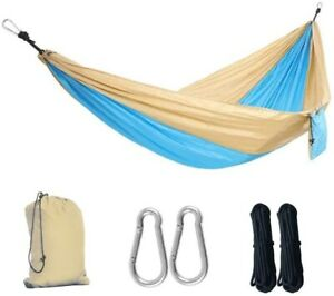 Double Camping Portable Hammock Parachute Blue Suitable For Outdoor Beach Yard