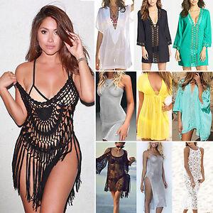 Damen-Bademode-Bikini-Cover-Up-BOHO-Kleid-Sommerkleid-Kurz-Minikleid-Strandkleid