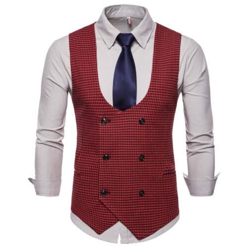 Men Formal Waistcoat Smart Dress Suit Wedding Office Business Blazer Vest Jacket