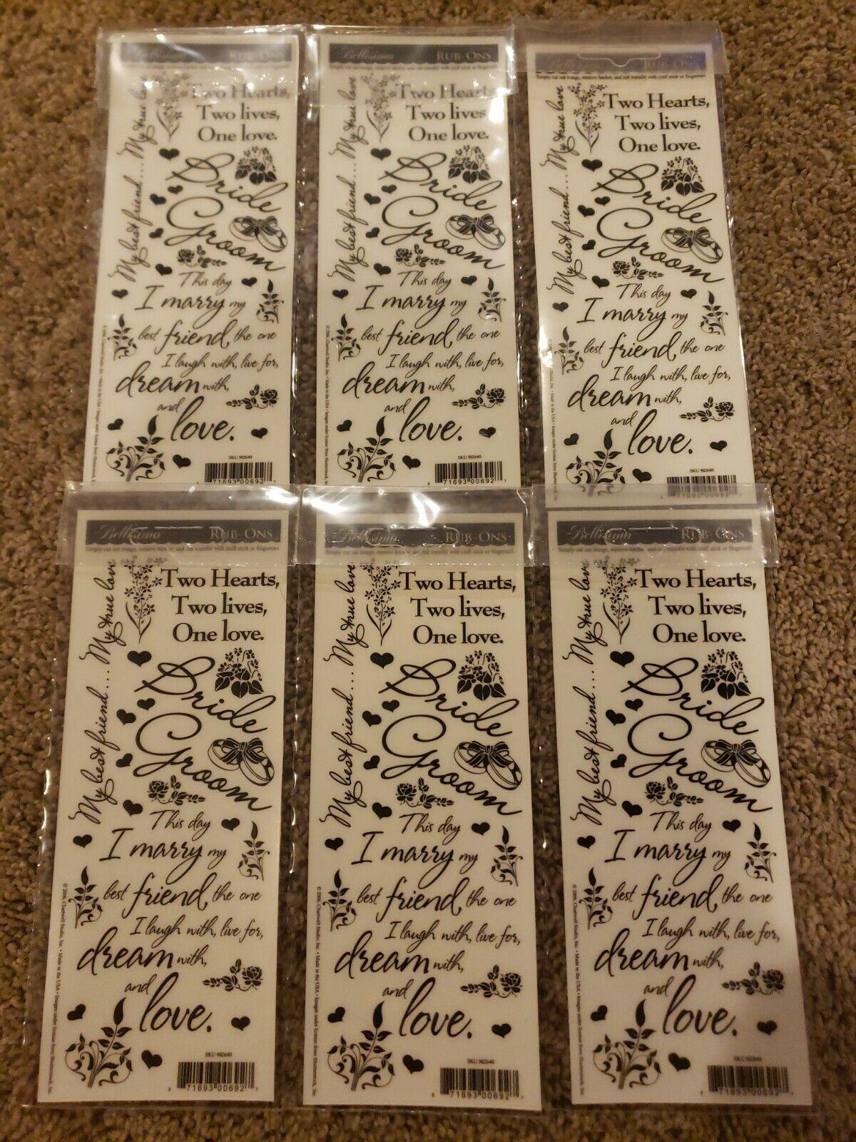 WEDDING Love Rub On Scrapbooking Transfers 6 sheets Verse Words Flowers Hearts