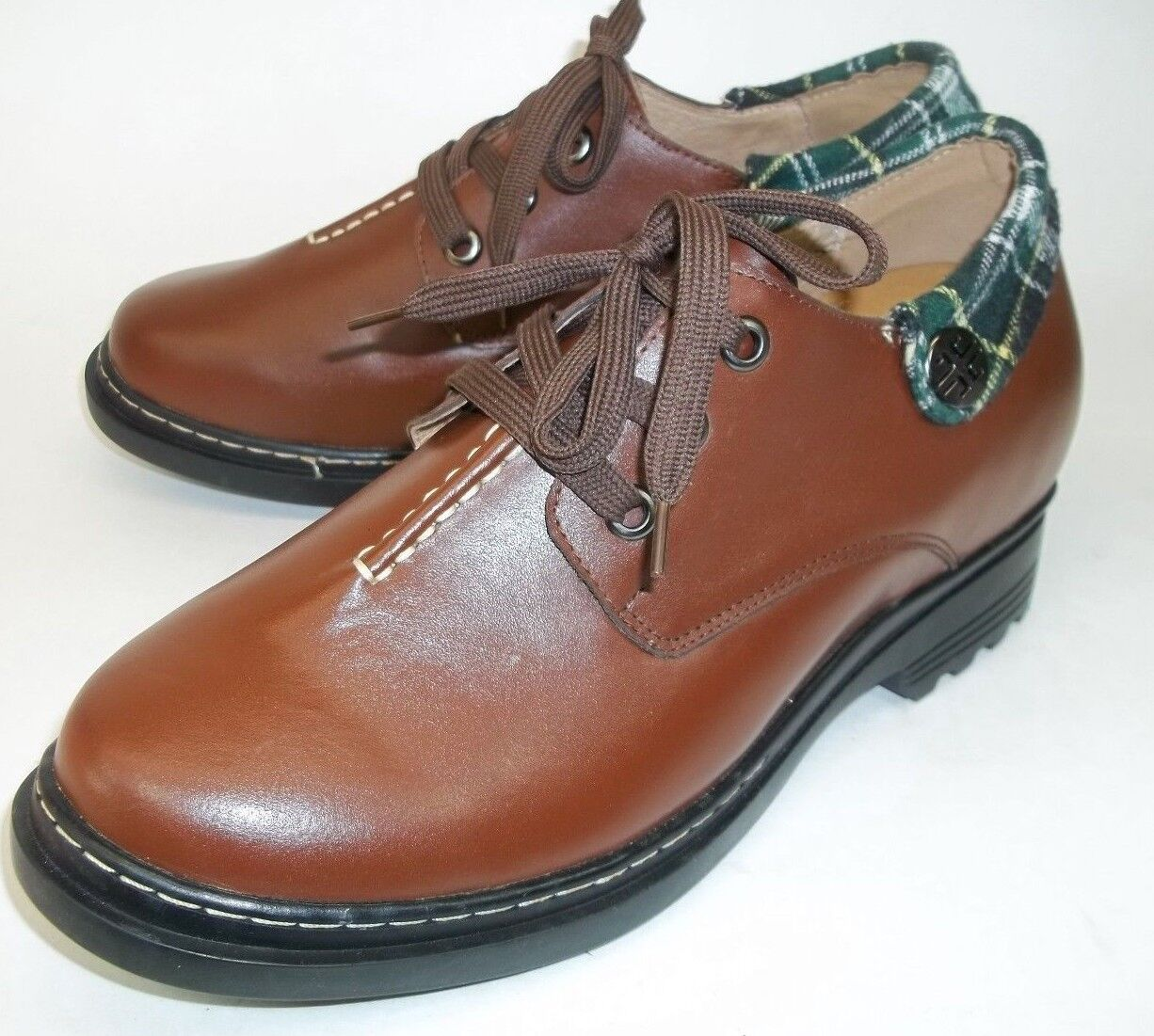Mens Oxfords shoes US 8.5 Brown Leather Green Plaid 4 Lifts Casual Work 6269