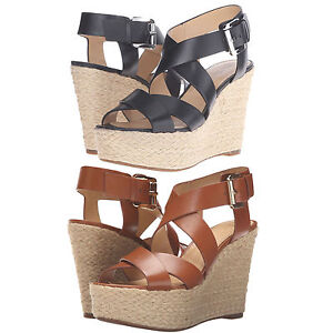 632c2a9779e Michael Kors Womens Celia Mid Wedge Peep Toe Buckle Ankle Strap ...