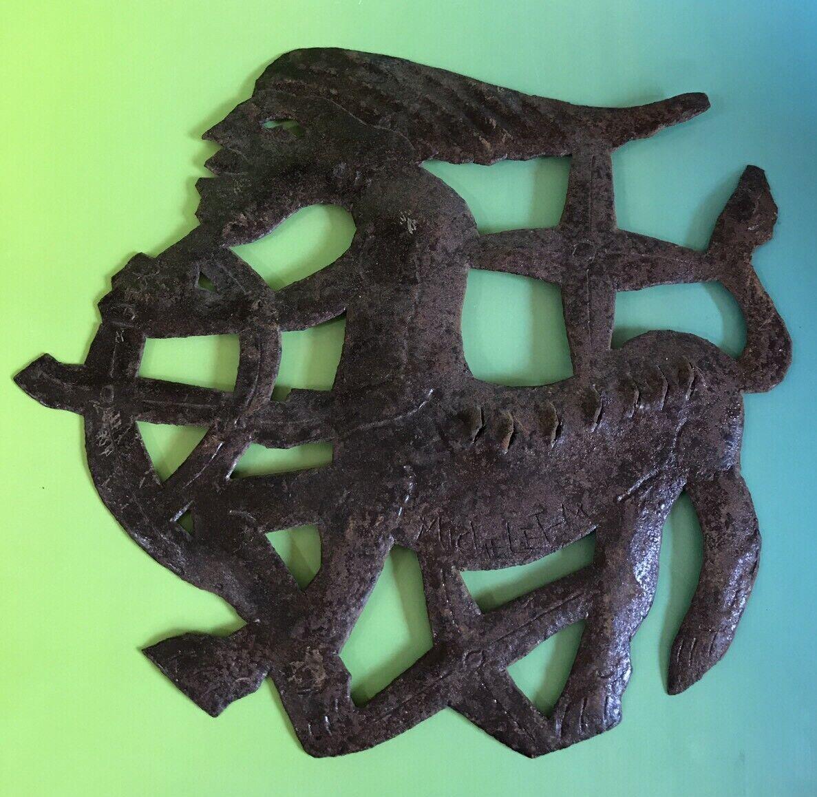 Sagittarius Metal Wall Hanging Mythology Zodiac Astrology Signed Half Man Archer