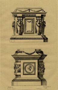 Decoration-Jean-Charles-Delafosse-Tombeau-Piedestal-Gravure-XIXeme-Pequegnot