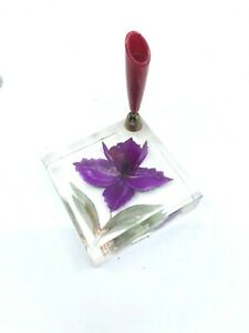 Vintage-Clear-Lucite-with-Purple-Orchid-Pen-Holder
