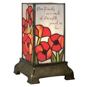 Our Family Accent Lamp - Stained Glass Poppy Flowers Tabletop Mood Light