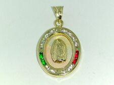 14K Solid 3 tone Gold Virgin Mary Guadalupe Pendant dije de Virgen de Guadalupe