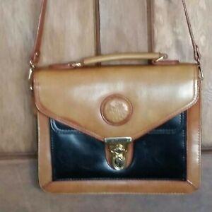 Shoulder Boxy Bag Satchel Black And Tan
