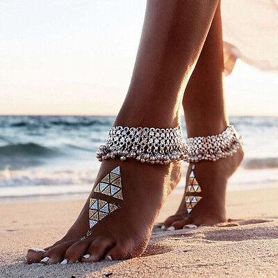 Dame Silber Perle Kette Fußkettchen Knöchel Armband Barfuß Sandale Fuß AB