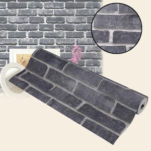 Wandtapete steintapete mauer optik 3d schwarz vlies brick muster 2 1qm modern ebay - Steintapete schwarz ...