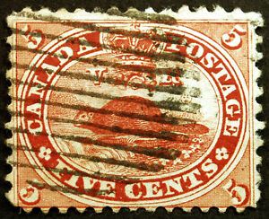 Early-Canada-15-Vermillion-1859-Beaver-Used