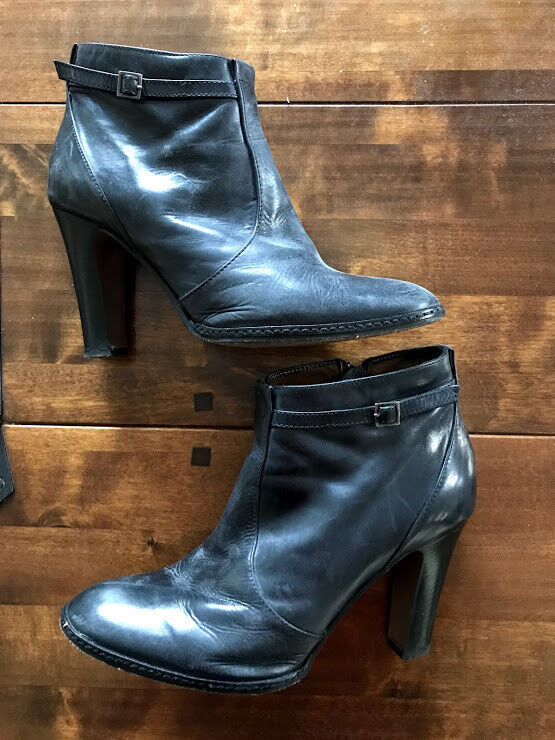WOMENS HOBBS DARK GREY LEATHER ANKLE BOOTS SIZE UK 7
