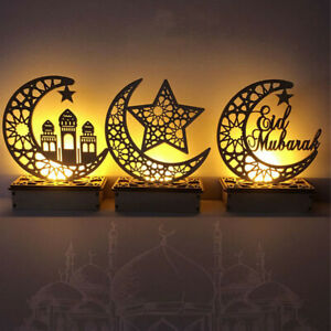 Wooden EID Mubarak Ramadan Ornament Muslim Islamic Light Gifts Home Craft Decor