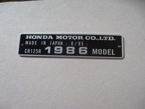 FRAME ALU DATA PLATE READY DATE 1986 Honda CR125R date 8//85 HEADTUBE TAG