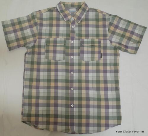 Columbia Westerly Winds Plaid Short Sleeve Shirt Mens Sizes S M Granite Purple