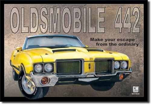"""OLDSMOBILE 442 /""""MAKE YOUR ESCAPE FROM THE ORDINARY /"""" TIN SIGN SIZE 12.5/"""" X 16/"""""""