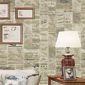 Details zu Klassisch Französisch Brief Zeitung Tapete für Wohnzimmer Decke  Zuhause Dekor A