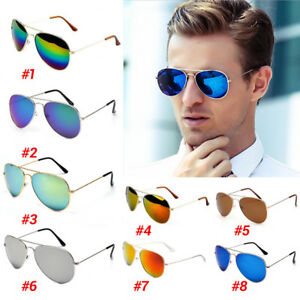 393a8ea683 Image is loading Unisex-Women-Men-Fashion-Aviator-Mirror-Lens-Sunglasses-
