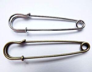 3B No Loops brooch making 70mm Large Antique Bronze Iron Kilt Pins