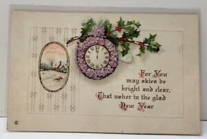 New-Years-Embossed-Pansies-Clock-Country-Scene-Series-341C-Postcard-B7