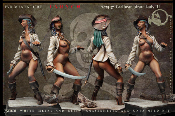 Caribean Pirate Lady III 75mm 1 Figurine El Viejo Dragon Miniaturas