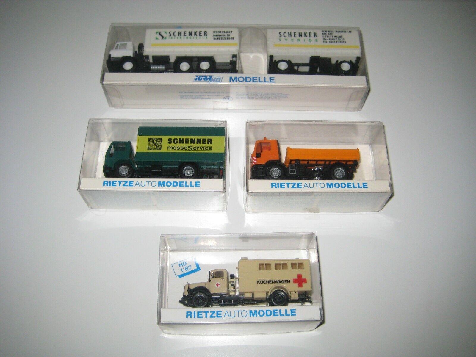 Rietze Auto Modelle H0 60119, 60605, 60101 & 696 - 4 caminones