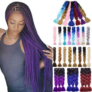 Image Is Loading 24 Long Kanekalon Hair Crochet Braids Ombre Jumbo